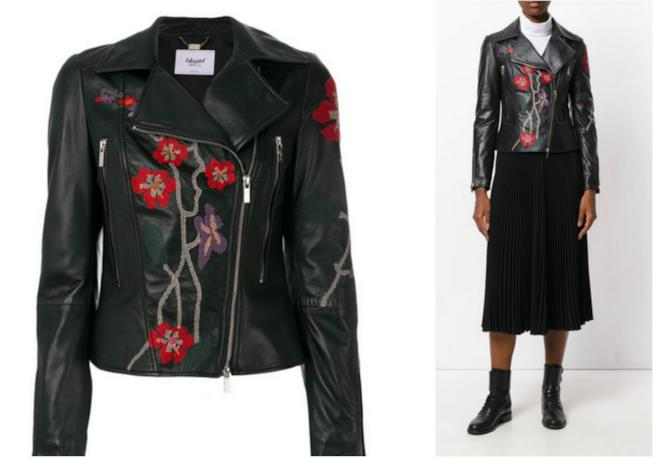 Collage tra giacca in pelle e modella con giacca in pelle