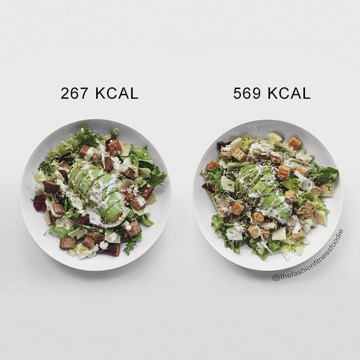 Due insalate con ingredienti leggermente diversi