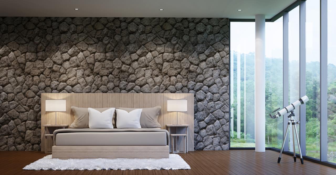 Soluzioni per arredare una casa di montagna in stile - Letto tappezzato ...