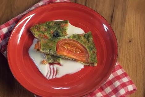 Frittata con pesto e pomodorini