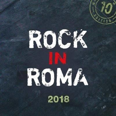 La scritta Rock in Roma 2018 su sfondo grigio