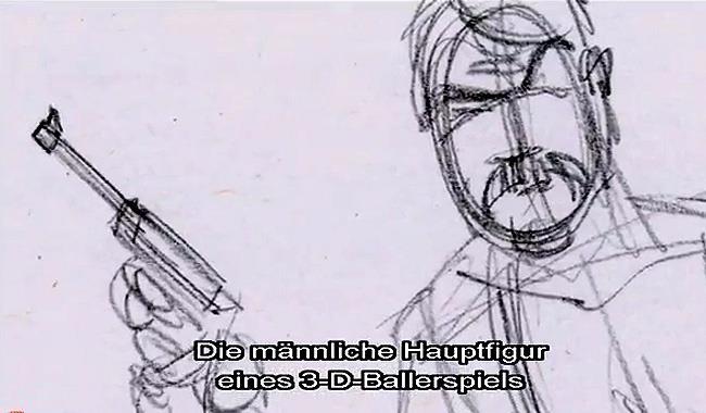 Un disegno del primo protagonista di Tomb raider
