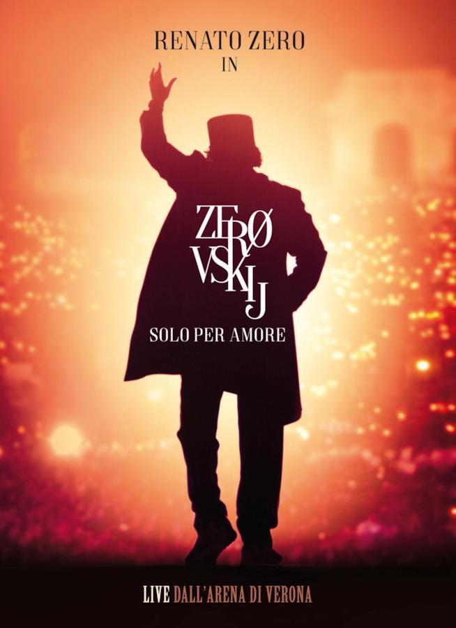 La copertina di Zerovskij Solo per me amore, con la sagoma in nero di Renato Zero e uno sfondo rosso
