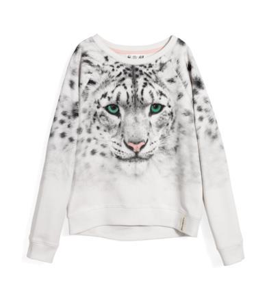 Felpa leopardata bianca naturale
