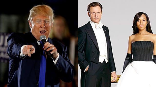 Donald Trump affiancato a Olivia Pope e il Presidente FItz