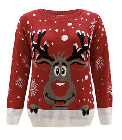 Maglione rosso col disegno di una renna