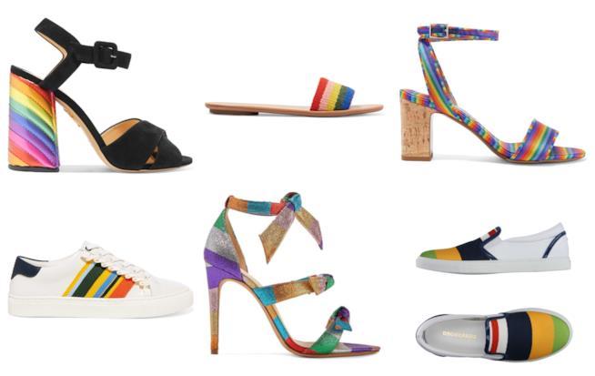 Sandali e sneakers a righe arcobaleno di tendenza per l'estate 2018