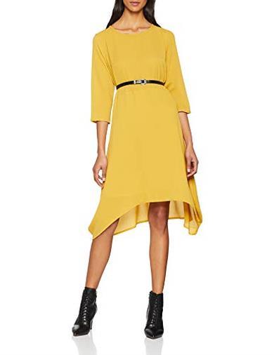 Vestito midi giallo senape