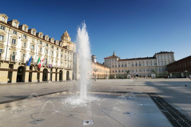 Piazza Castello a Torino vista dalla fontana