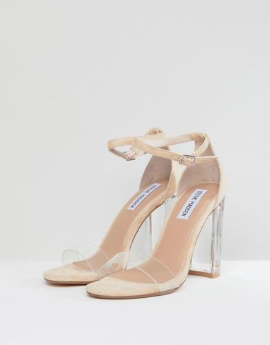 Sandali cipria con tacco largo trasparente