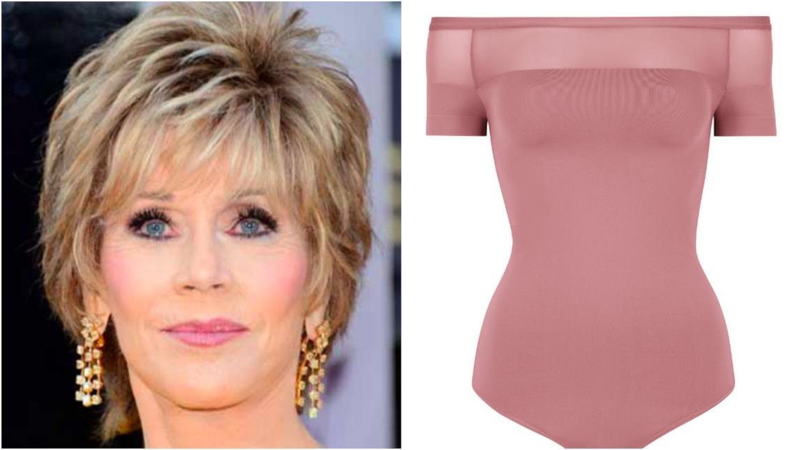 Collage tra Jane Fonda e il body Wolford