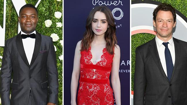 David Oyelowo, Dominic West e Lily Collins insieme in una fotografia