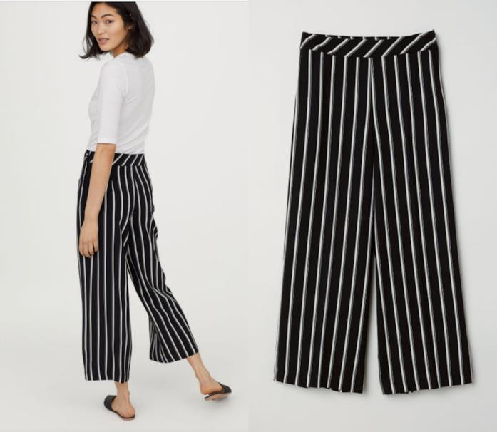 Pantaloni a righe bianche e nere
