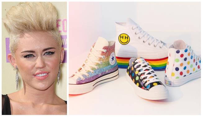 Collage tra Miley Cyrus e le Converse