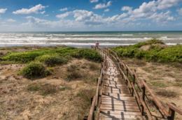 Passerella di legno che conduce al mare