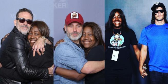 Lisas Williams con alcuni membri del cast di The Walking Dead