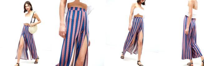 Pantaloni con fondo ampio e spacco frontale stampa azteca a righe firmati da ASOS DESIGN