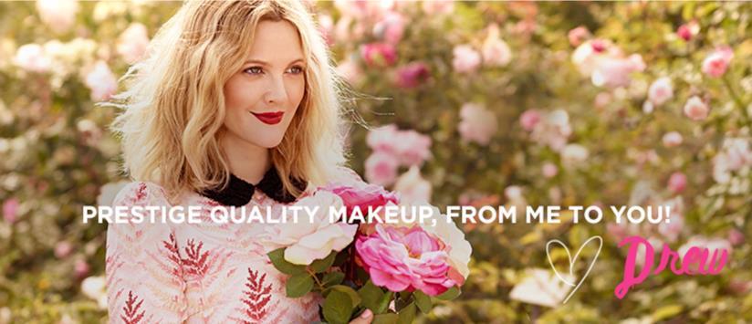 Drew Barrymore testimonial del suo brand Flower Beauty