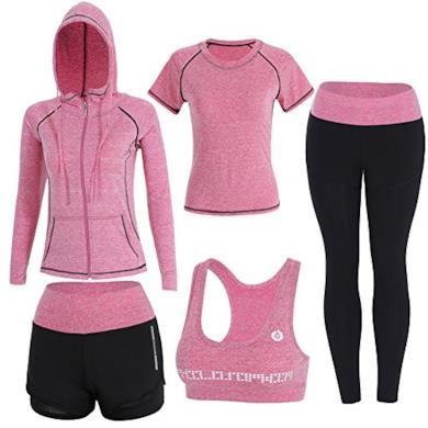 5 Pezzi Yoga Fitness Palestra Running Jogging Completi Sportivi