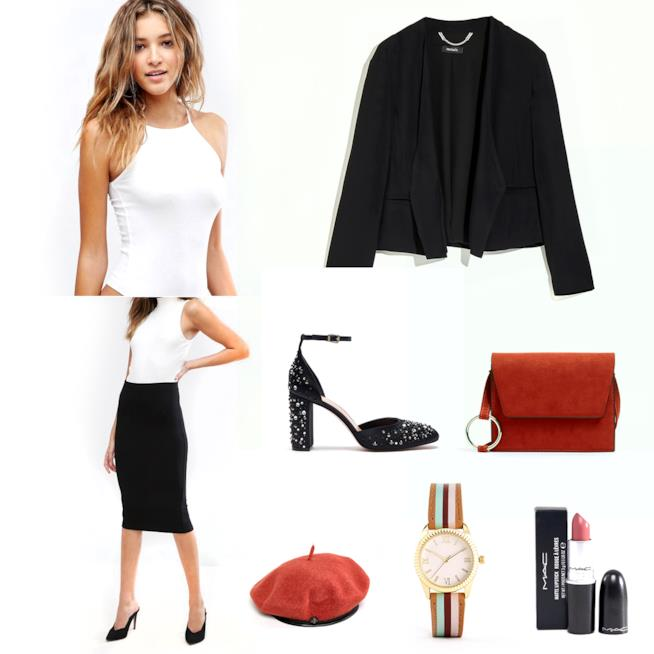 Outfit con tailleur gonna