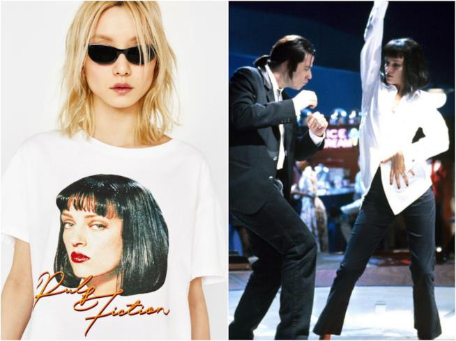 La maglietta di Bershka di Pulp Fiction e una scena del film in cui Mia e Vincent ballano