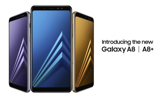 Il Galaxy A8 disponibile nei nuovi colori nero, oro oppure (nel più stiloso) Orchid Gray