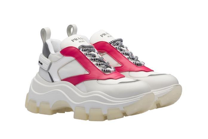 Chunky Sneakers in pelle bianca e fucsia con inserti argento e lacci bicolore