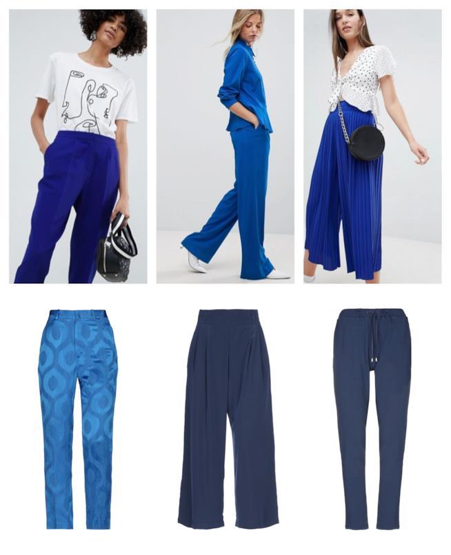 Blu per i pantaloni di tendenza autunno inverno 2018-19