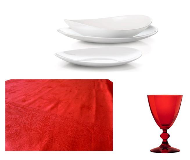 Tovaglia rossa, piatti bianchi, calici rossi