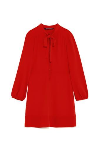 Vestito mini con fiocco rosso