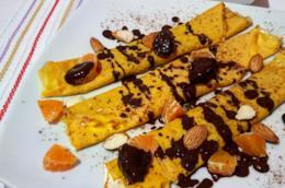 Cialde morbidi con mandarini e cioccolato