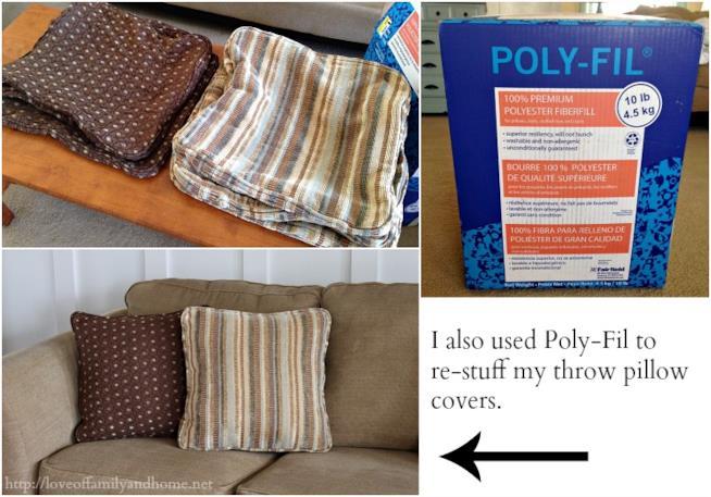 Fodere dei cuscini lavate e imbottitura arricchita con della fibra di poliestere