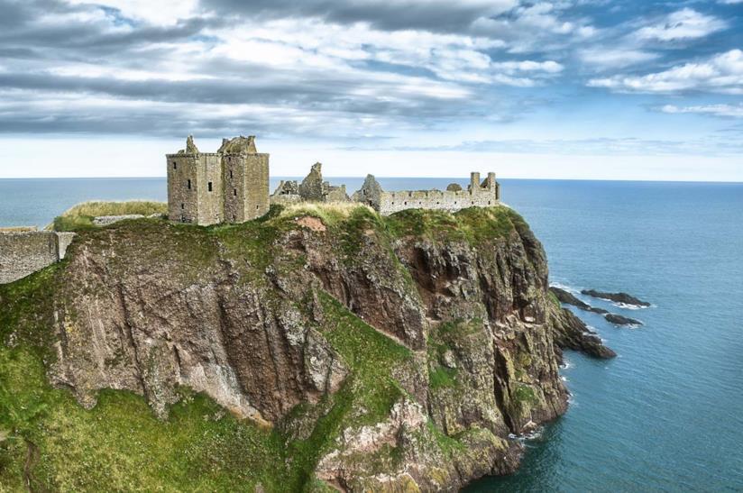 Panorama del castello di Dunnottar in Scozia