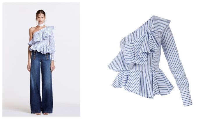 44826fb87e44e7 Elisabetta Franchi A righe bianche e blu, la camicia di tendenza per la P/E  2018
