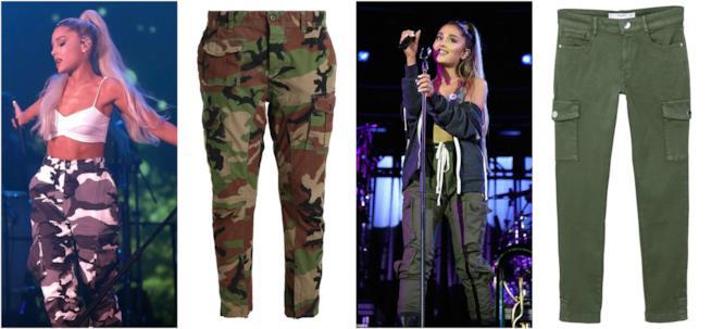 Ariana Grande e i pantaloni cargo dallo stile sportivo