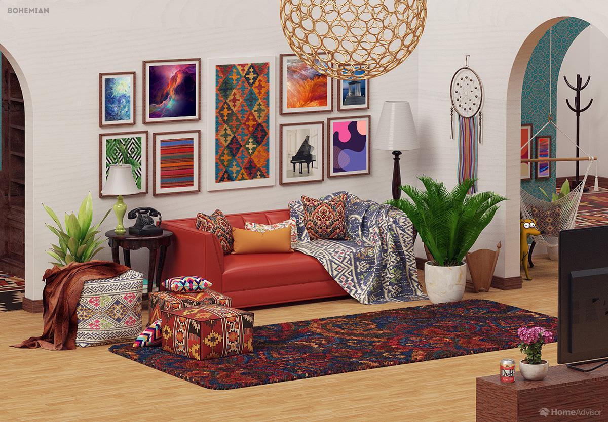 il salotto de i simpson rivisitato in 6 stili di interior