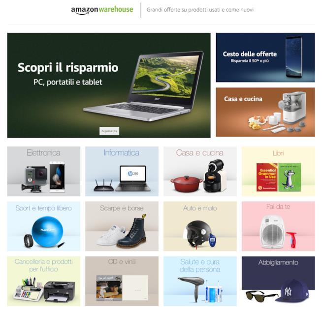 La sezione del sito Amazon Warehouse dove trovare i prodotti usati