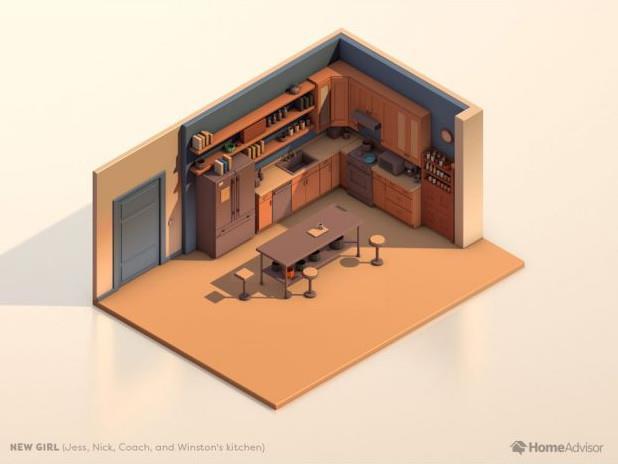 La piantina della cucina di New Girl