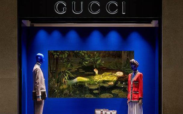 Vetrina Gucci in Via Montenapoleone