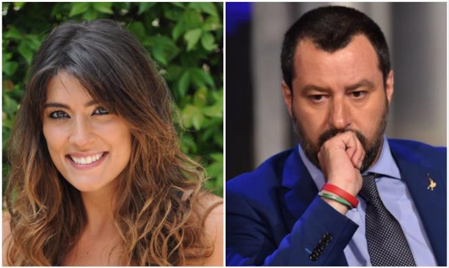 Collage Elisa Isoardi Matteo Salvini