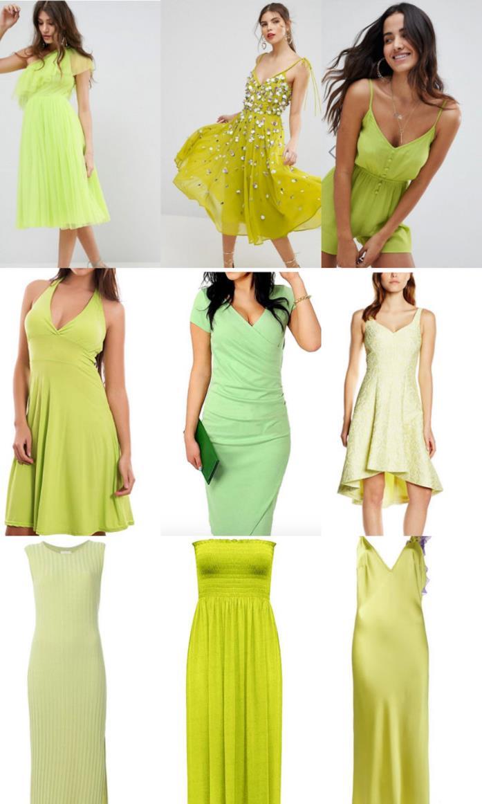 Collage di vestiti color lime