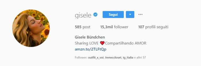 Profilo instagram Gisele Bundchen