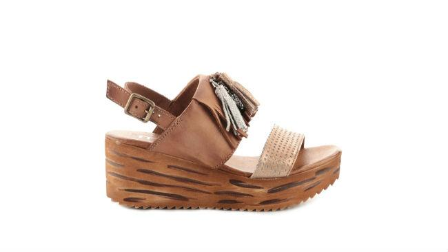 Sandali in pelle con zeppe Mjus