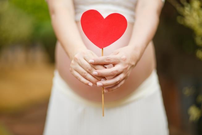 Donna incinta che tiene in mano un cuore
