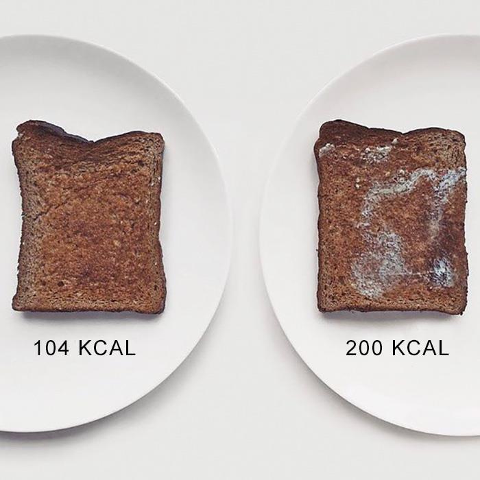 Due fette di pane imburrato