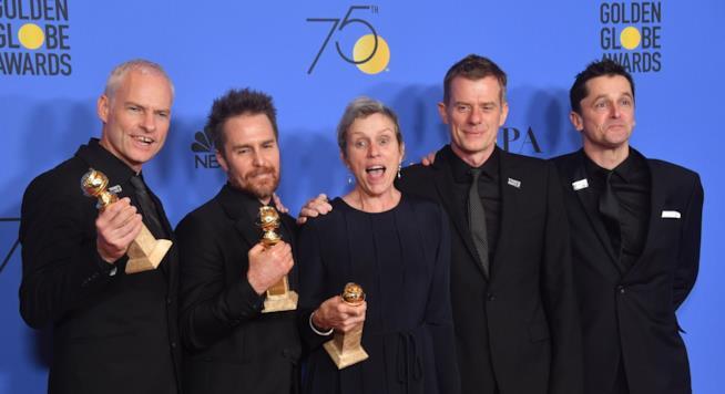 Martin McDonagh Sam Rockwell e Frances McDormand alla serata dei Golden Globe Awards