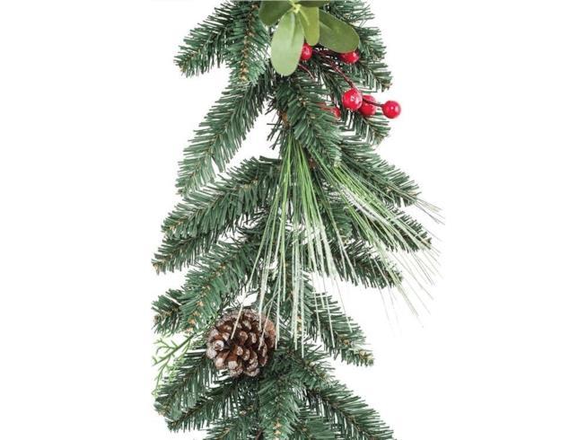 Festone che riproduce il ramo di un pino con le pigne e le bacche