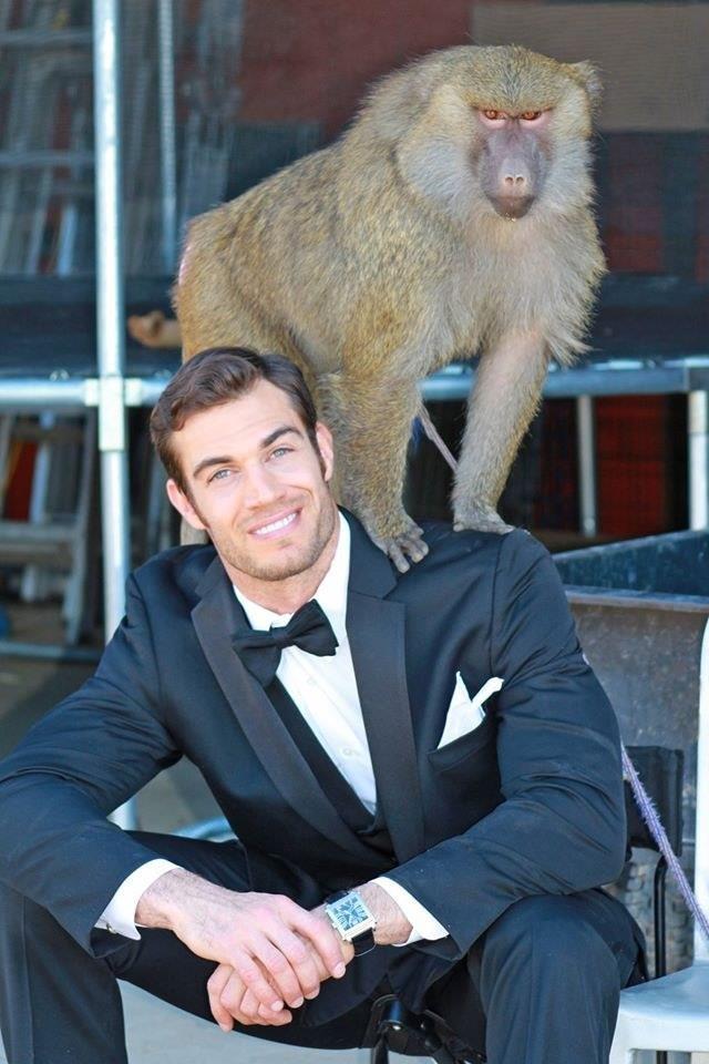 Il veterinario Evan Antin con una scimmia
