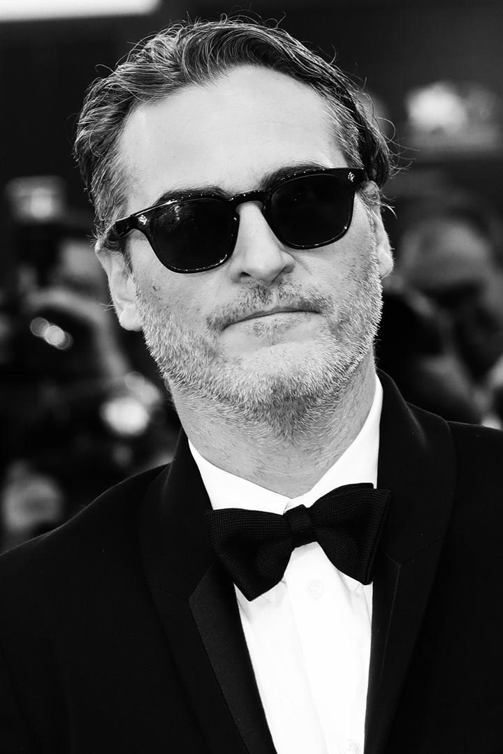 Primo piano di Joaquin Phoenix in bianco e nero