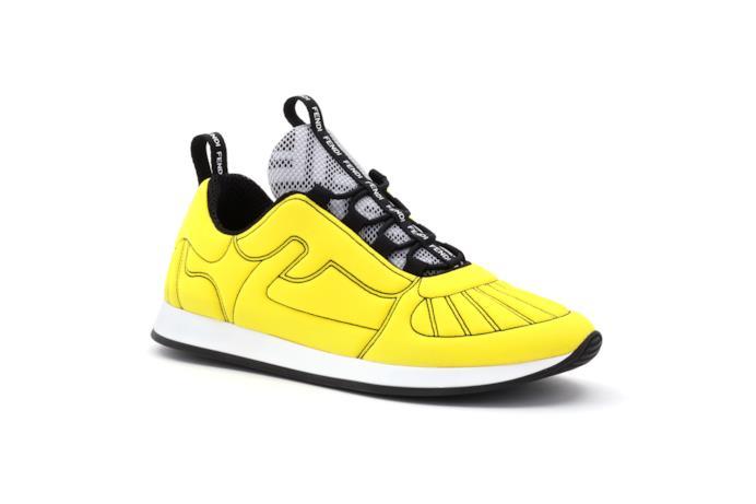 Sneaker Fendi Roma Amor in Lycra® giallo fluo